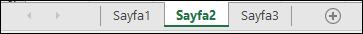 Excel penceresinin alt kısmında çalışma sayfası sekmeleri