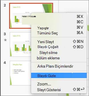 Ekran Slayt Gizle seçeneği seçili olan seçili bir slayt ve sağ tıklatma menüsünü gösterir.