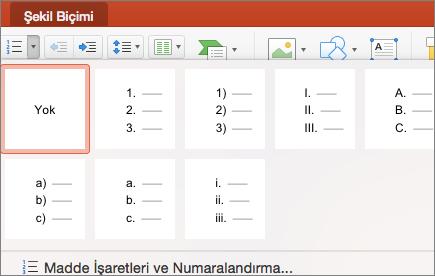 Numaralandırma düğmesindeki oku seçtiğinizde gösterilen numaralandırma stillerinin ekran görüntüsü