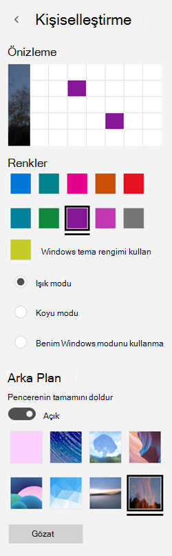 Arka plan resmi ve uygulamalarınızı için özel renkler seçme