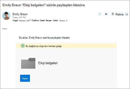 OneDrive klasörü paylaşmak için bağlantısını e-posta
