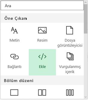 SharePoint'te içerik ekle menüsünün ekran görüntüsü.