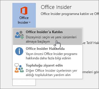 Office Insider düğmesine katılın düğmesi