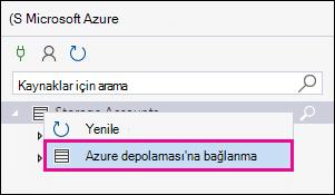 Depolama hesapları sağ tıklatın ve ardından Azure depolaması'na Bağlan'ı tıklatın