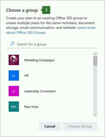 Grup Seç iletişim kutusunun ekran görüntüsü