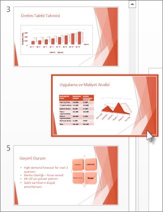PowerPoint slaydını yeni bir konuma sürükleyin.