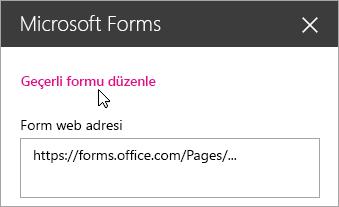 Mevcut form için Microsoft Forms web bölümü panelinde geçerli formu düzenleyin.