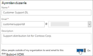 Ekran görüntüsü: dış üye için bir dl göndermek izin vermek için iki durumlu açma