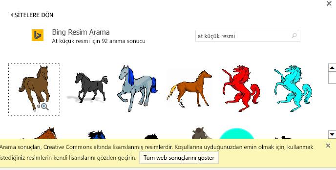 """""""At küçük resmi"""" araması sonucunda, Creative Commons lisansı tarafından korunan çeşitli resimler getirilir."""