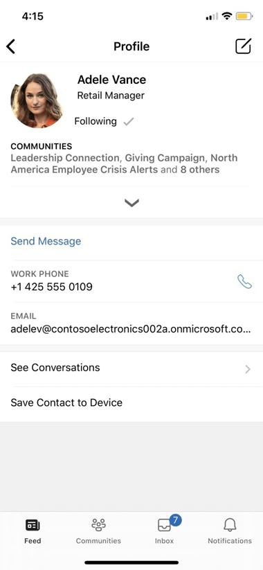 Yammer mobil profili ayarları