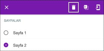 Android için OneNote'ta uzun bağlam menüsünde sayfayı silme