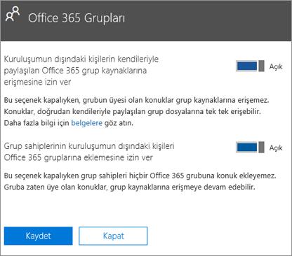 Kuruluşumun dışındaki kişilerin Office 365 gruplarına ve kaynaklarına erişmesine izin verme