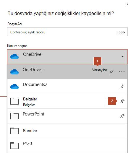 Microsoft Office 365 'deki Kaydet iletişim kutusu, klasörlerin listesini gösterir.