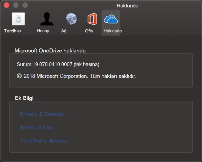 Mac için OneDrive Hakkında Arabirimi