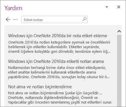 Notları Etiketleme sözcükleri için arama sonuçlarının görüntülendiği OneNote Yardım bölmesinin ekran görüntüsü.