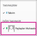 Paylaşılan posta kutusu takviminin seçili olduğu Outlook Web App
