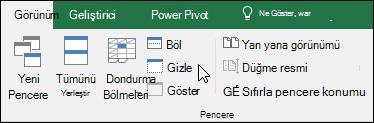 Çalışma kitabını görünümünden göstermek veya gizlemek > Windows > gizleme/gösterme