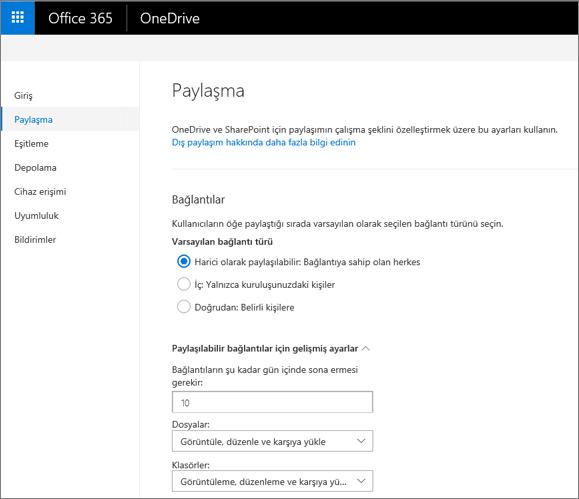 OneDrive yönetim merkezinin paylaşım sayfasında bağlantı ayarları