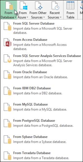 Power Query veritabanından seçenekleri