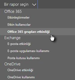 Ekran görüntüsü: Rapor seçme - Office 365 grupları
