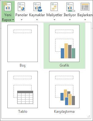 rapor sekmesindeki yeni rapor menüsü