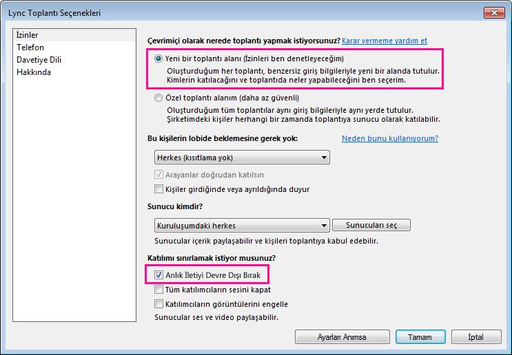 Lync Toplantısı seçenekler penceresinde anlık iletiyi devre dışı bırakmanın ekran görüntüsü