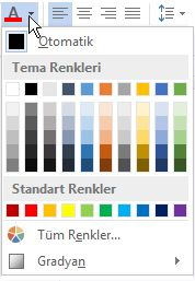 Yazı tipi renk paleti