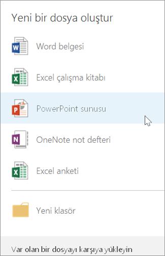 Yeni PowerPoint sunusu oluşturma