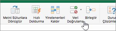 Veri Doğrulama'nın seçili olduğu Excel araç çubuğu veri menüsü