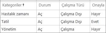 Varsayılan yönetim zamanı kategorileri