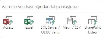 Veri kaynağı seçimleri: Access; Excel; SQL Server/ODBC Verileri; Metin/CSV; SharePoint Listesi.