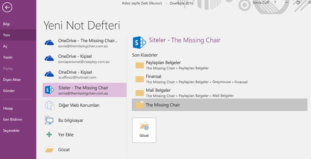 Windows 2016 için OneNote Yeni Not Defteri klasörü seçimi arabirimi