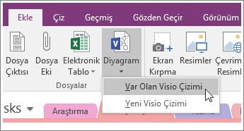 OneNote 2016'daki Diyagram Ekle düğmesinin ekran görüntüsü.