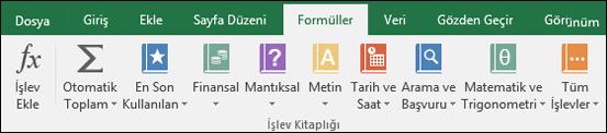 Şeritteki Excel Formülleri sekmesi