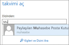 Outlook Web App Takvimi aç iletişim kutusu