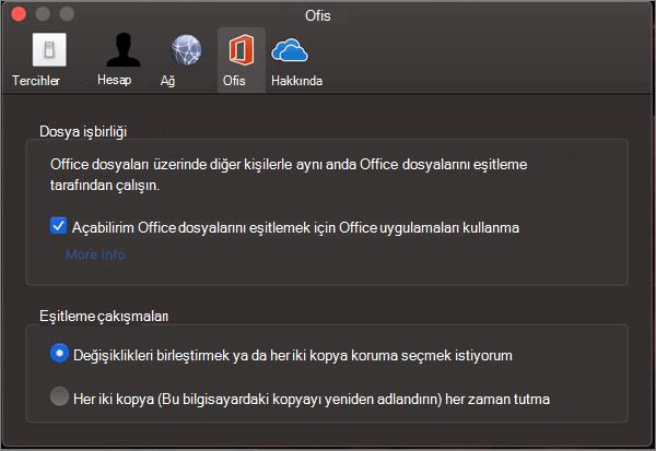 ' Office 'i Eşitle ' seçeneğinin seçili olduğu Microsoft OneDrive 'da Office sekmesi