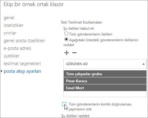 DSN 5.7.135'i düzeltmenize yardımcı olması ortak klasör için izin verilen özel gönderen listesi