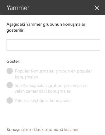 Yammer web bölümü arama çubuğu