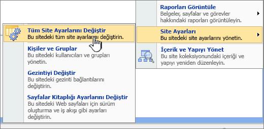 Site ayarları'nın altında tüm site ayarları seçeneğini değiştirme