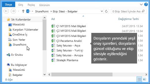 Masaüstünüzde eşitlenen dosyayı bulmak için Dosya Gezgini'ni kullanın. Dosya, SharePoint klasöründedir.