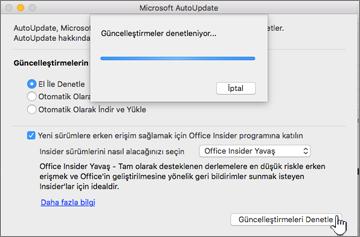Mac üzerinde Insider Yavaş Güncelleştirmelerini denetleme