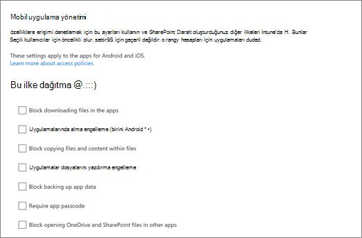 OneDrive Yönetim merkezinde OneDrive ve SharePoint mobil uygulamaları yönetme