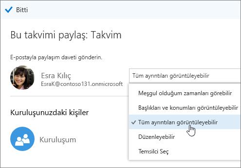 Erişim seçeneklerini gösteren Takvimi paylaş bölmesinin ekran görüntüsü