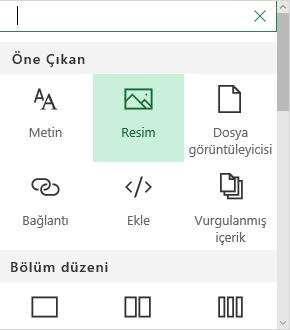 SharePoint'te Resim web bölümü seçiminin ekran görüntüsü.