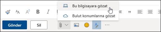 Bilgisayar'ın seçili olduğu Ekle menüsünün ekran görüntüsü