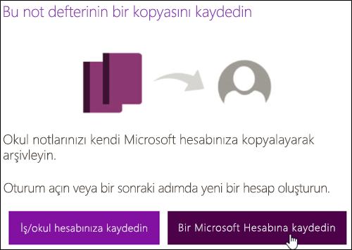 Bir Microsoft hesabı ile kaydetme