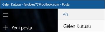 Windows 10 için Mail uygulamanız olduğunda, şeridin görünüşü.