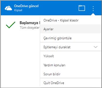 OneDrive Eşitleme Etkinlik merkezi Diğer ayarlar