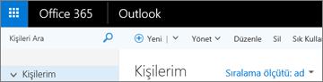 Web üzerinde Outlook'ta şeridin görünüşü.