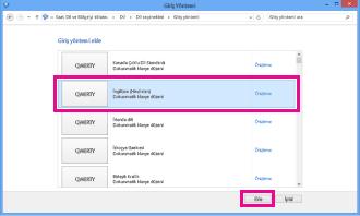 Windows 8'de giriş yöntemi ekleme